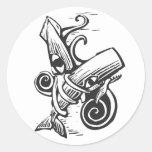 Fighting Squid Round Sticker