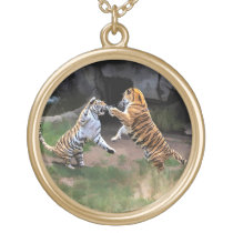 FIGHTING TIGERS GOLD PLATED NECKLACE