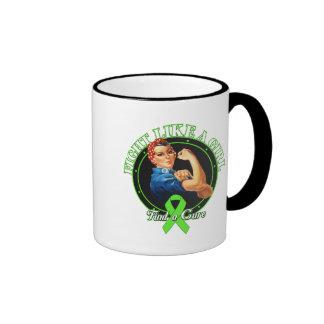 FightLikeAGirl Rosie Riveter Non Hodgkins Lymphoma Ringer Coffee Mug
