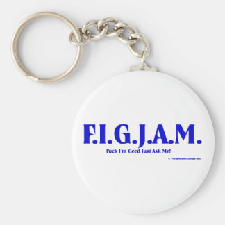 FIGJAM - BLUE BASIC ROUND BUTTON KEYCHAIN