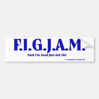 FIGJAM - BLUE CAR BUMPER STICKER