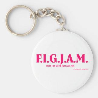 FIGJAM - PINK BASIC ROUND BUTTON KEYCHAIN