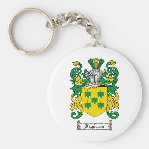 FIGUEROA FAMILY CREST -  FIGUEROA COAT OF ARMS BASIC ROUND BUTTON KEYCHAIN