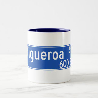 Figueroa Street, Los Angeles, CA Street Sign Two-Tone Coffee Mug