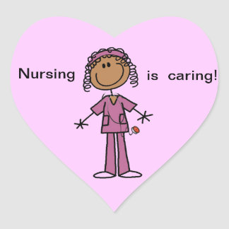 Figura afroamericana enfermera del palillo colcomanias de corazon personalizadas