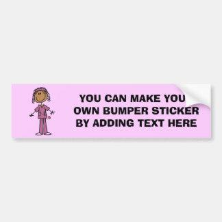Figura afroamericana enfermera del palillo pegatina para auto