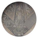 Figura alegórica del otoño, detalle de un mosaico  plato para fiesta