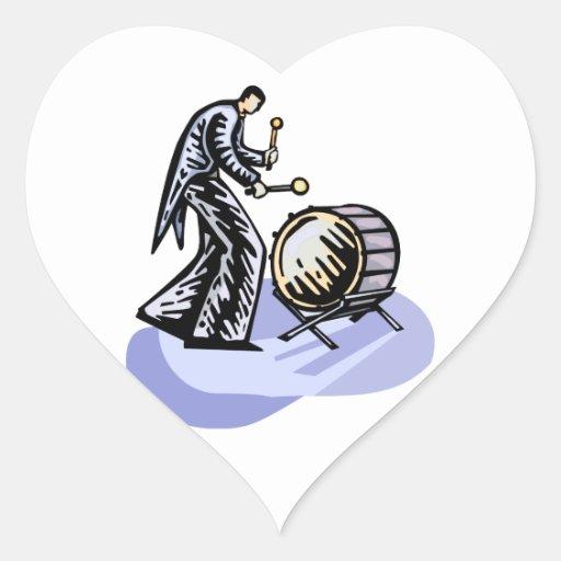 Figura alta bajo del jugador del bombo de la pegatina de corazon personalizadas