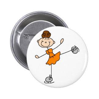 Figura anaranjada botón del patinador pins