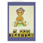 Figura anaranjada linda del feliz cumpleaños tarjeta de felicitación