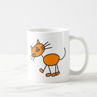 Figura anaranjada taza del palillo del gato