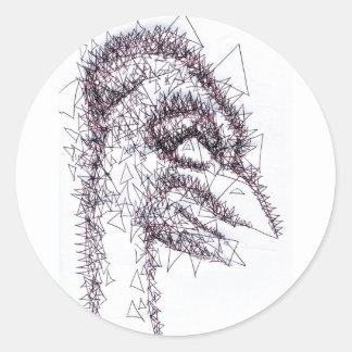 Figura angulosa aguda de la tensión pegatina redonda