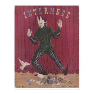 Figura antigua de la marioneta de Intermede de la Tarjetas Postales