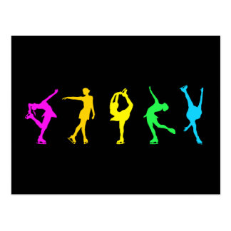 Figura arco iris del pastel de los patinadores tarjeta postal