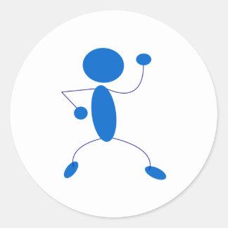 Figura azul baile del palillo pegatina redonda