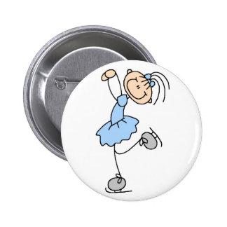 Figura azul botón del patinador pin