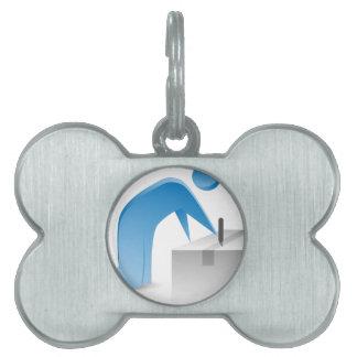 Figura azul caja abierta del palillo del corte del placa de nombre de mascota