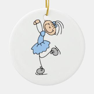Figura azul camisetas y regalos del chica del pati ornamento de navidad