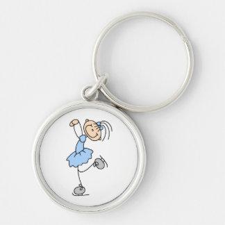 Figura azul camisetas y regalos del vestido del pa llavero redondo plateado