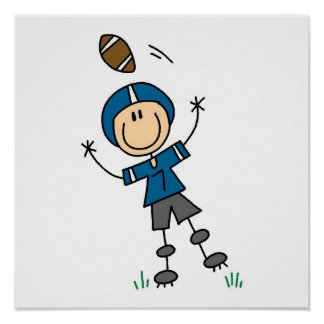 Figura azul del palillo del fútbol póster