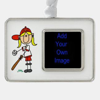 Figura béisbol del palillo del chica en el adornos con foto