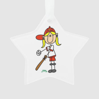 Figura béisbol del palillo del chica para arriba