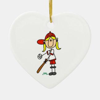 Figura béisbol del palillo del chica para arriba adorno de cerámica en forma de corazón