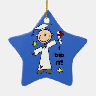 Figura blanca graduado del palillo del varón ornamento para arbol de navidad