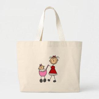 Figura bolso del palillo de la mamá y del bebé bolsa tela grande