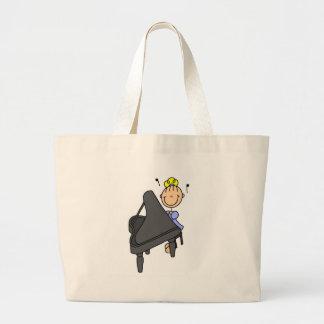 Figura bolso del palillo del pianista bolsa tela grande