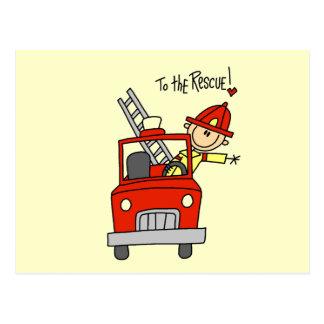 Figura bombero del palillo al rescate postales