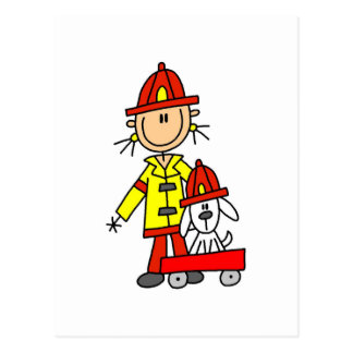 Figura bombero del palillo con Dalmation Postal