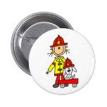 Figura bombero del palillo con el botón de Dalmati Pin
