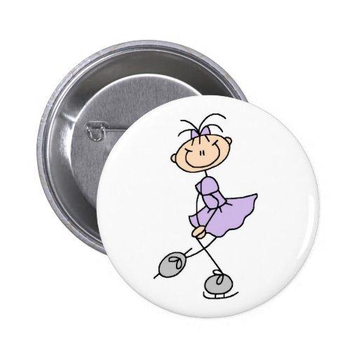 Figura botón de la lila del chica del patinador pin