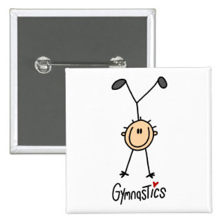 Figura botón del palillo de la gimnasia pin cuadrado