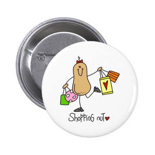 Figura botón del palillo de la nuez de las compras pin