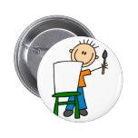 Figura botón del palillo de la pintura del muchach pin