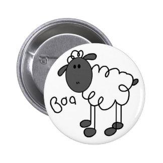 Figura botón del palillo de las ovejas pin redondo de 2 pulgadas