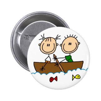 Figura botón del palillo de pesca del barco pin redondo de 2 pulgadas