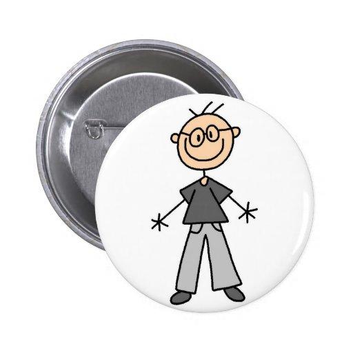 Figura botón del palillo del abuelo pin redondo de 2 pulgadas