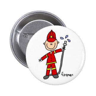 Figura botón del palillo del bombero pin redondo de 2 pulgadas