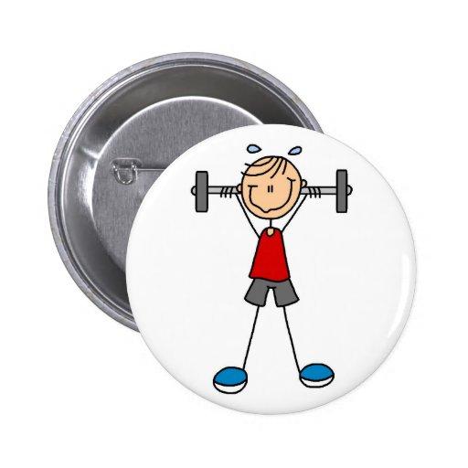 Figura botón del palillo del levantamiento de pesa