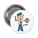 Figura botón del palillo del pintor pin