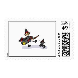 Figura bruja del palillo con el gato lindo sellos