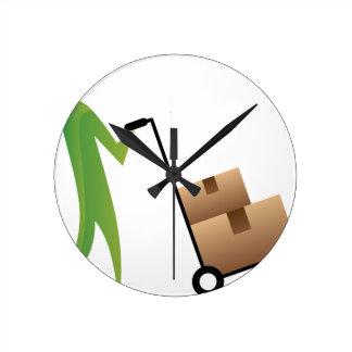 Figura cajas móviles Handtruck del palillo del Reloj Redondo Mediano