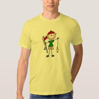 Figura camisa del palillo de la pesca del muchacho