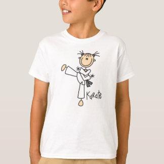 Figura camiseta del palillo del chica del karate