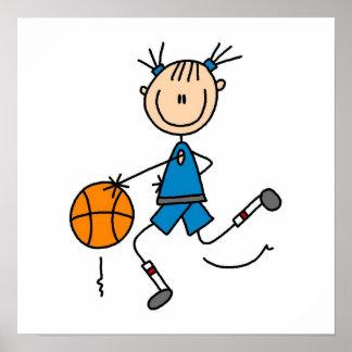 Figura camisetas del palillo del jugador de básque póster