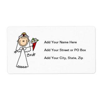 Figura camisetas y regalos del palillo de la novia etiqueta de envío