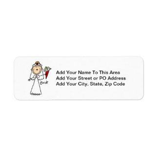 Figura camisetas y regalos del palillo de la novia etiqueta de remite